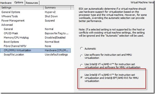 make sure you have the option to pass the Intel EPT feature