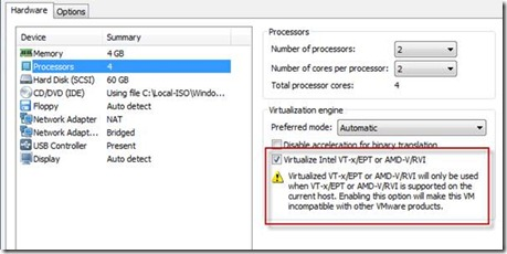 make sure you have the option to pass-through the Intel VT-x/EPT feature