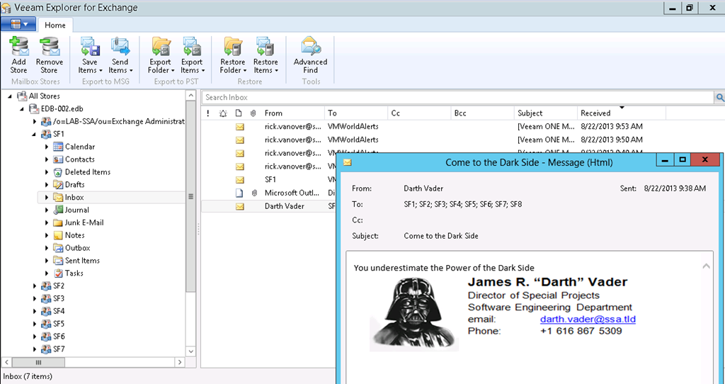 Figure 7: Restoring of an email from the backup of a Microsoft Exchange VM<