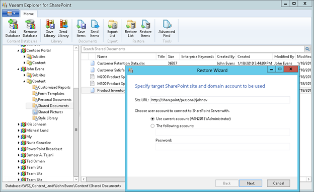 Figure 6: Restoring files from a backup of a Microsoft SharePoint VM<