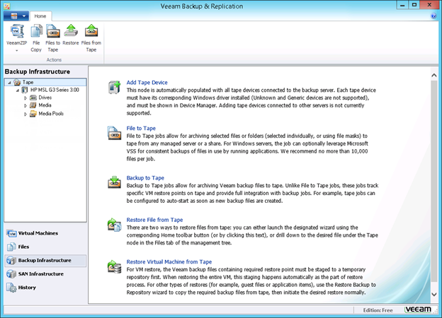 Figure 4: Native tape support in Veeam Backup Free Edition v7