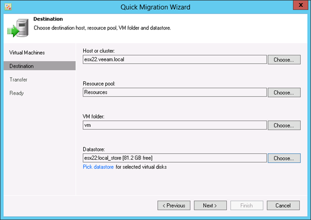Figure 3: Live VM migration with Veeam Quick Migration
