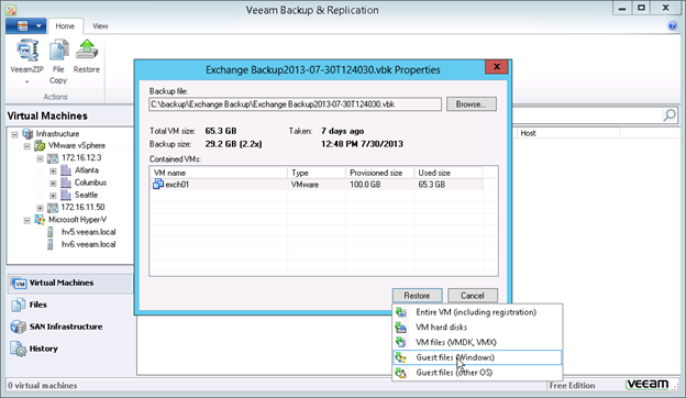 Figure 2: Restoring guest OS files with Veeam Backup Free Edition v7
