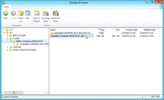 Pic. 3 Point Veeam Explorer for Exchange to the database file.