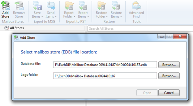 Point Veeam Explorer for Exchange to the database file.