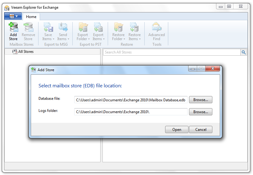 Point Veeam Explorer for Microsoft Exchange to the Exchange database