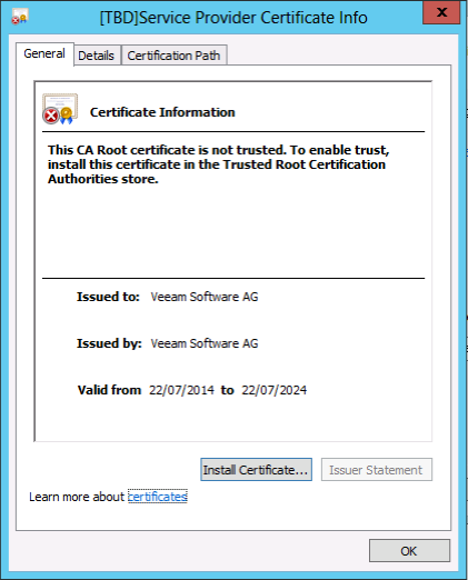 Default self-signed certificate