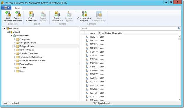 Veeam Explorer for Active Directory v8 Beta