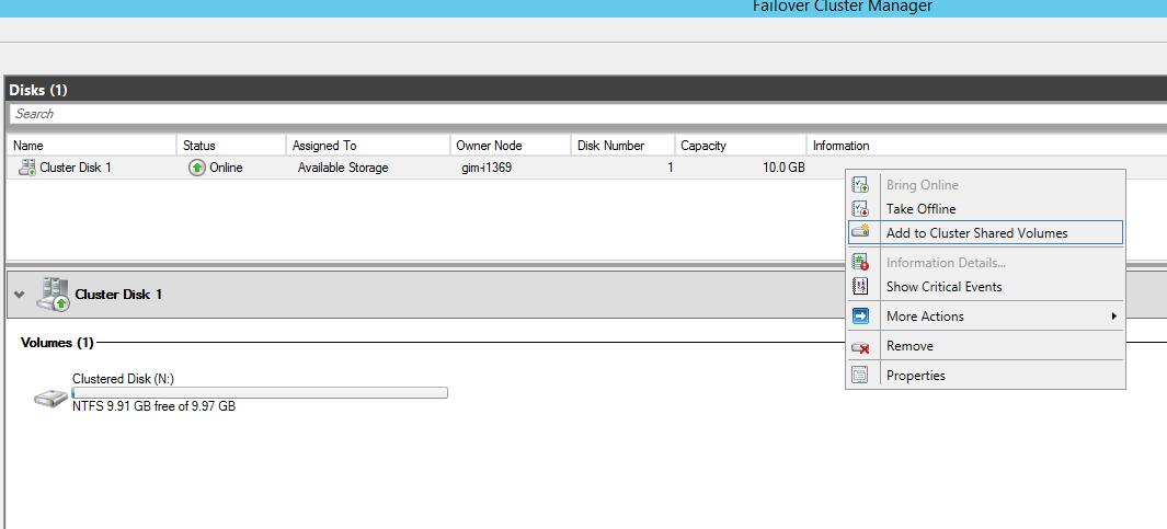 FCM - Add disk to CSV