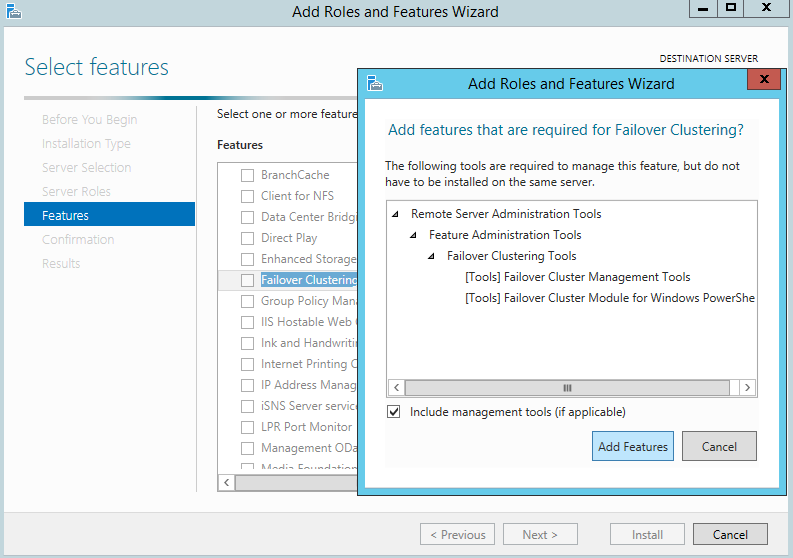 adding the Failover Cluster feature
