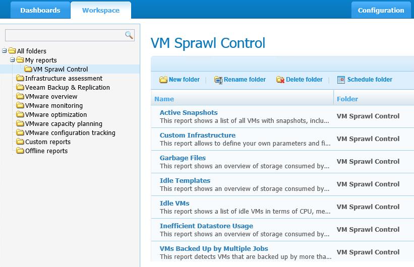 Create a VM Sprawl Control folder at workspace dashboard