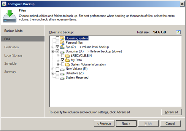 Laptop and PC file level backup