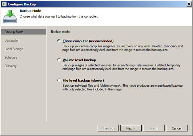 Laptop and PC backup with Veeam Endpoint Backup modes