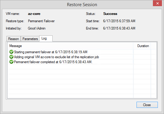 Permanent failover - Restore sessions