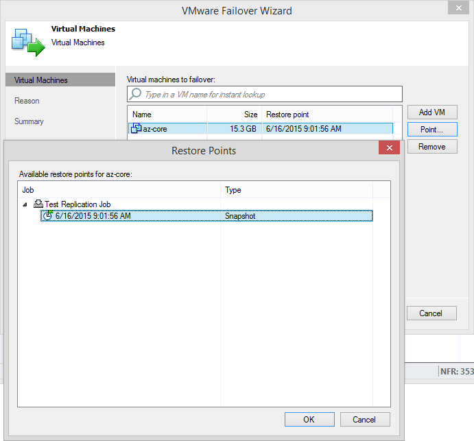 VMware Failover wizard