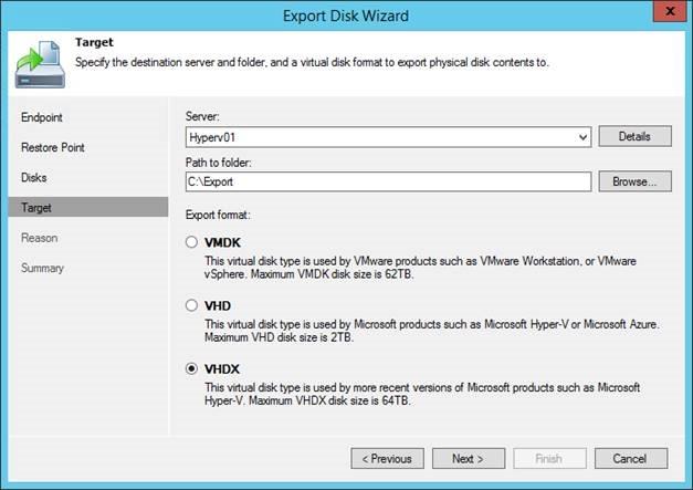 Export backup on disks