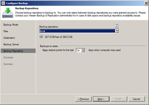 Configure Endpoint Backup Job