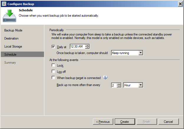 Backup Schedule with Veeam Endpoint Backup FREE