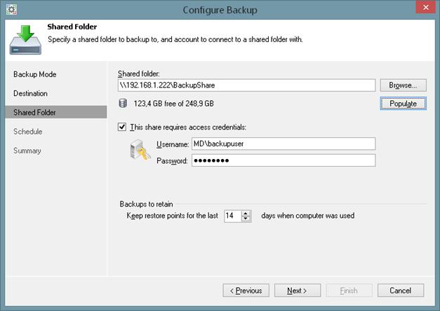 Shared volume backup target of Veeam Endpoint Backup FREE