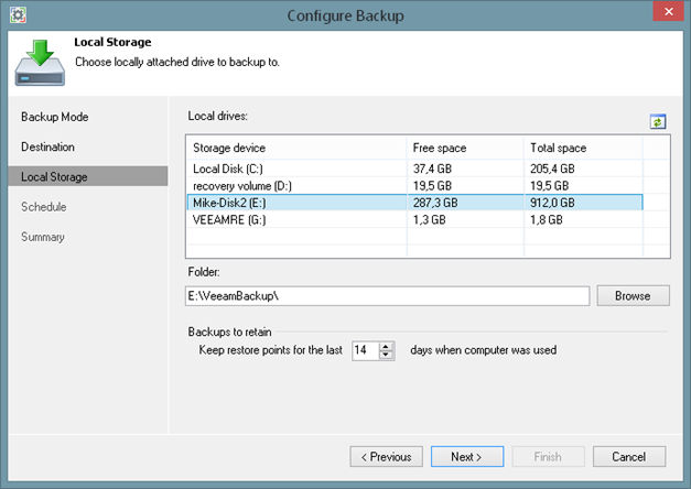 Local drive backup targets of Veeam Endpoint Backup FREE
