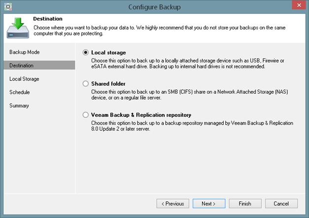 Veeam Endpoint Backup FREE - Backup Targets guide
