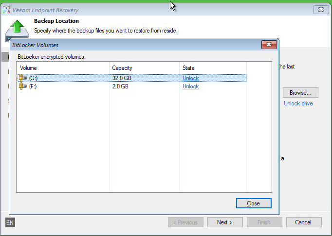 Unlock the source volumes protected with BitLocker