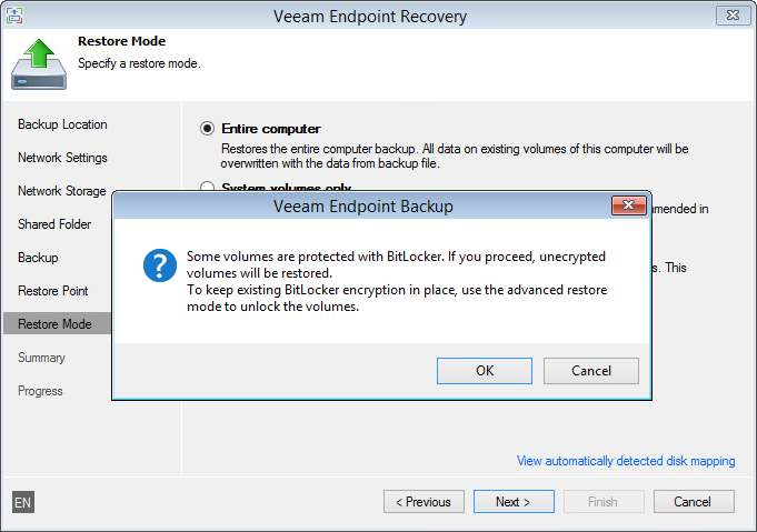 Unlock or overwrite the source volumes, protected with BitLocker