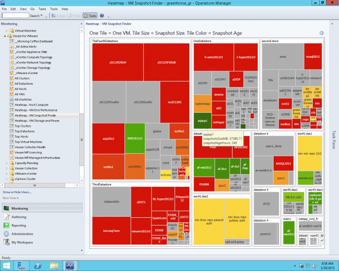 Snapshot & Checkpoint tracking heat map - VM snapshot finder for System Center Operations Manager
