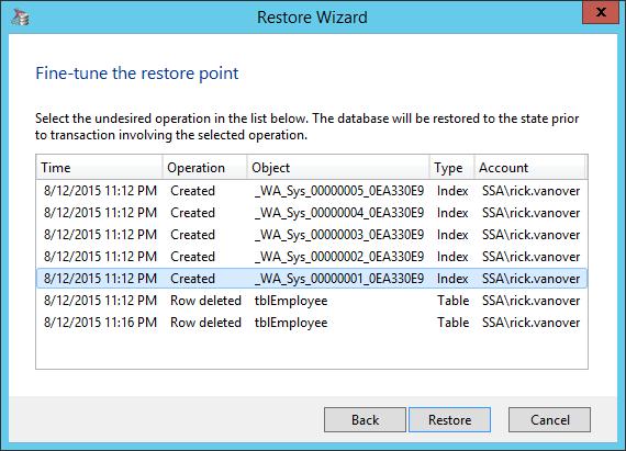 Restoring SQL Server specific transactions