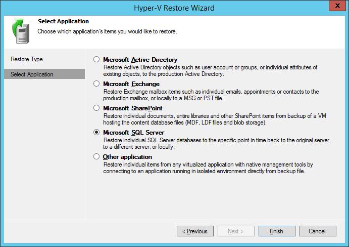 User Interface - Veeam Explorer for SQL Server