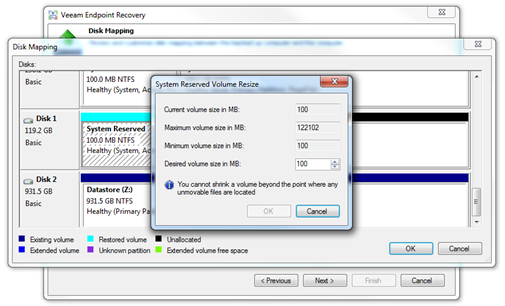 Disk Mapping - Volume resize for future Backup