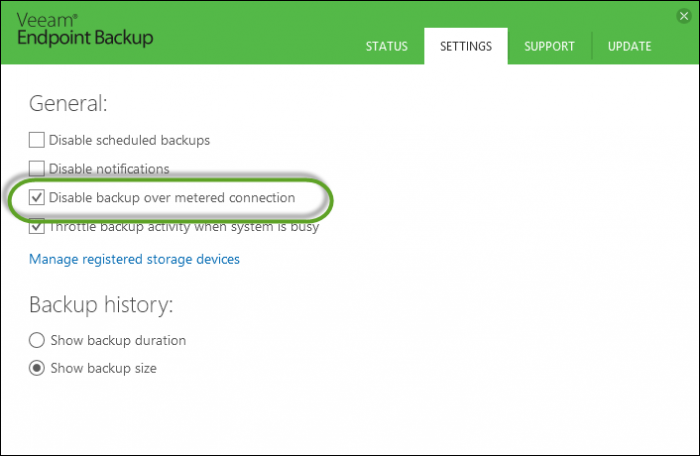 Metered connection support in Laptop Backup from Veeam