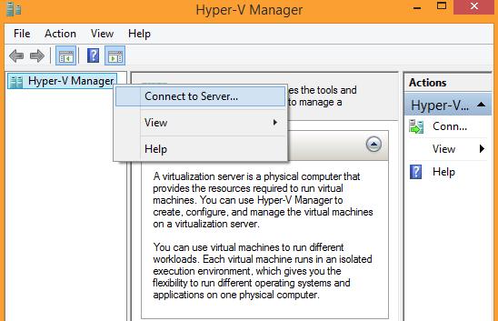 Windows 8.1 Hyper-V Manager