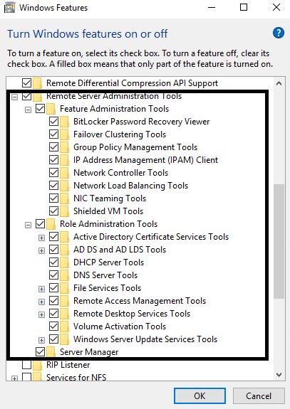 Windows 10 with RSAT installed