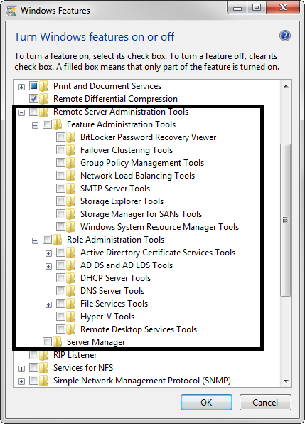 Windows 7 Features after RSAT installation