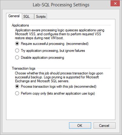 Server processing options