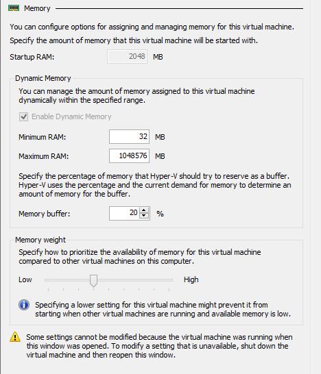Hyper-V dynamic memory of powered VM