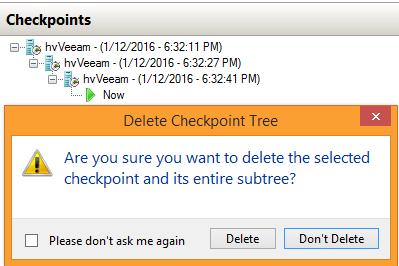 Hyper-V checkpoint subtree deletion