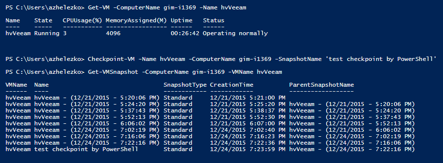 PowerShell cmdlets for Hyper-V checkpoints