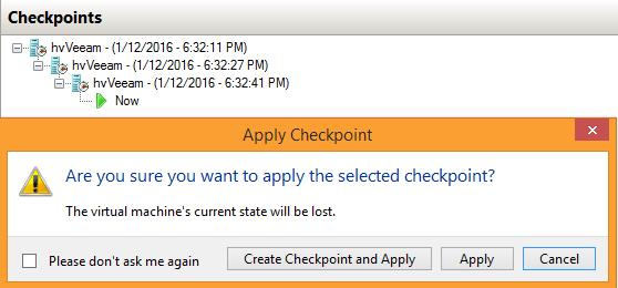 Applying a Hyper-V checkpoint