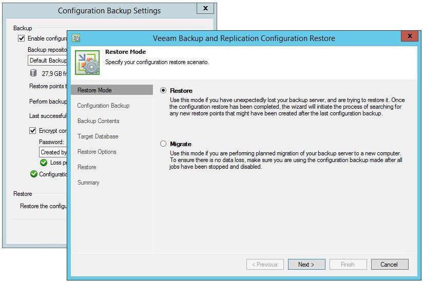 Veeam Backup and Replication Configuration Restore