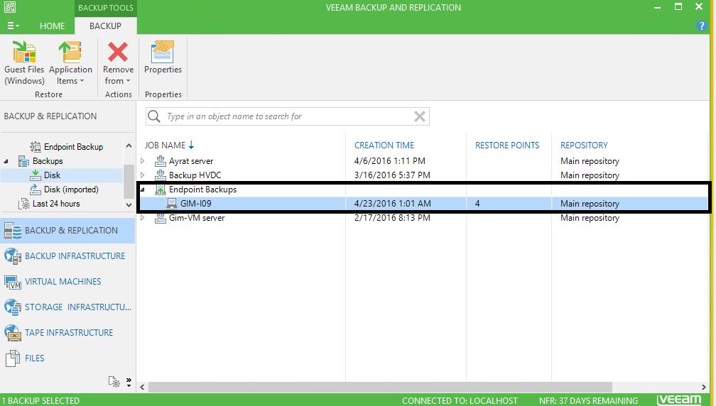 Veeam Backup & Replication: Backups-disk