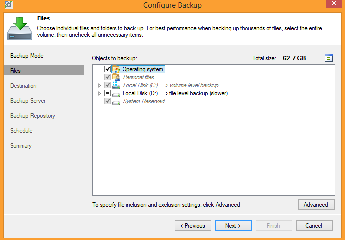 3 - Selecting objects to backup in Veeam Endpoint Backup