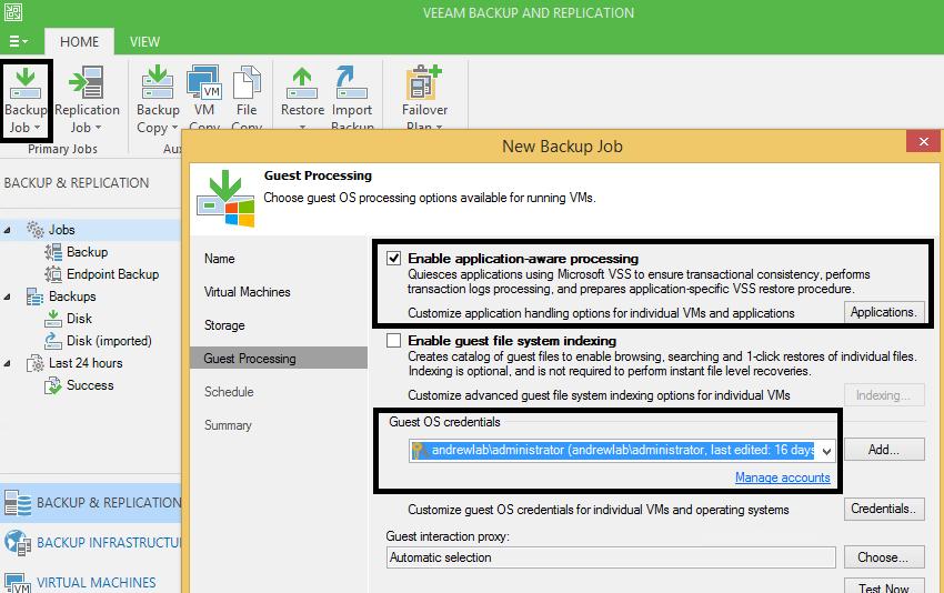 1 - Edit Backup Job Guest processing