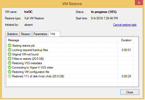 1 - Entire VM recovery