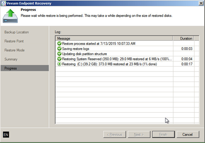 2 - Veeam Endpoint Backup bare-metal recovery