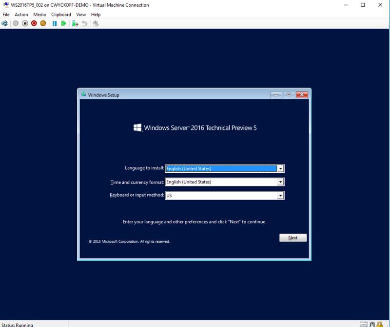 Windows Server 2016 installation