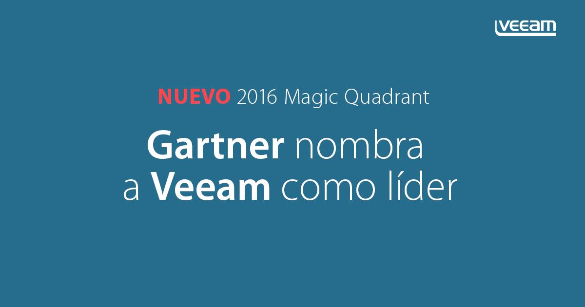 Gartner nombra a Veeam como líder en el nuevo Cuadrante Mágico para Software de Backup y Recuperación de Centro de Datos 2016