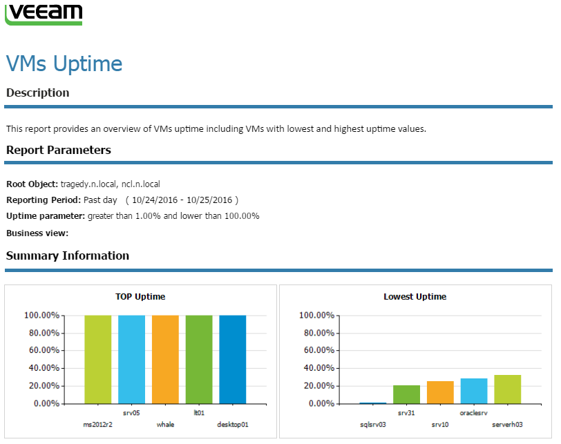Figure 2. Typical VM uptime report