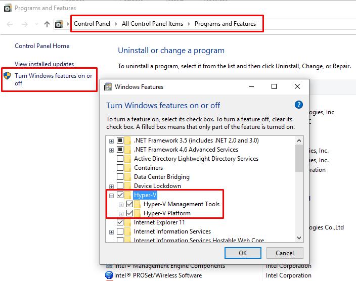 Enable Hyper-V on Windows 10